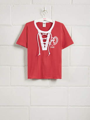 PINK University of Alabama Short Sleeve Perfect Lace-Up Tee