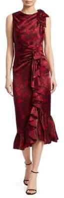 Cinq à Sept Nannon Asymmetric Silk Floral Print Sheath Dress