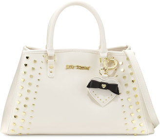 Betsey Johnson Hearts Fire Studded Satchel Bag, Cream/Bone $95 thestylecure.com