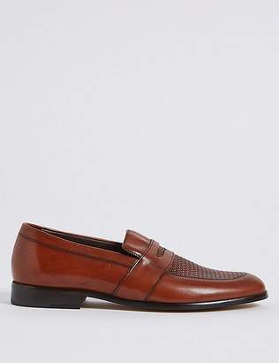 Marks and Spencer Leather Weaved Slip-on Loafers