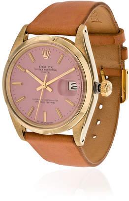 Rolex La Californienne 14k Gold Flamingo Oyster Perpetual Date Leather Watch