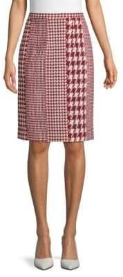 Oscar de la Renta Houndstooth Knee-Length Pencil Skirt