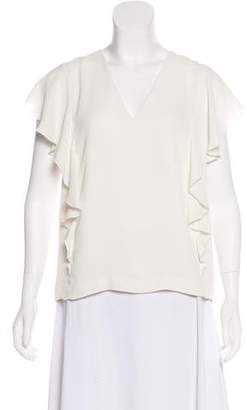 Elizabeth and James Ruffle-Accented V-Neck Top