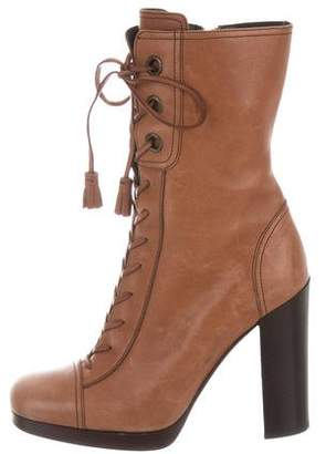 Miu Miu Leather Lace-Up Ankle Boots w/ Tags