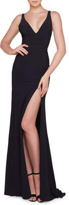 Mac Duggal Ieena for Sleeveless V-Neck Jersey Gown with Thigh-High Slit
