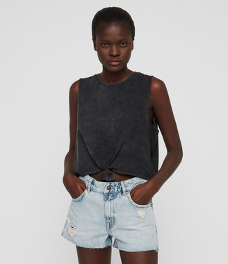 AllSaints Cleo Denim Low-Rise Boyfriend Shorts