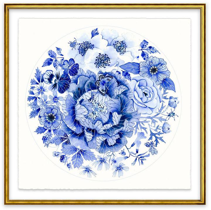 One Kings Lane Gabby Malpas, Blue Round Floral I