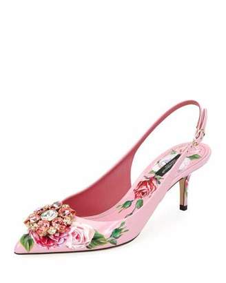 Dolce & Gabbana Jeweled Floral-Print Patent Leather Slingback Pump