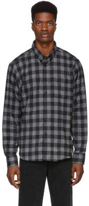 Naked & Famous Denim Denim Grey Brushed Buffalo Check Shirt