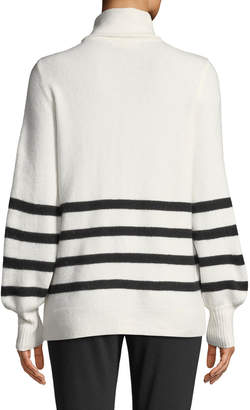 MICHAEL Michael Kors Alpaca Wool-Blend Striped Turtleneck Sweater