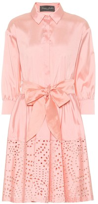 Monique Lhuillier Broderie anglaise satin shirt dress