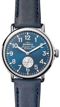 Shinola 41mm Runwell Watch, Midnight Blue/Ocean $550 thestylecure.com