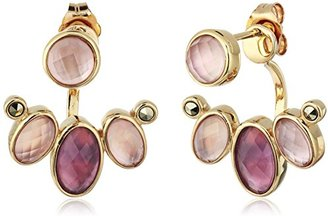 """Judith Jack """"Burgundy Valley"""" Sterling Silver/Swarovski Marcasite Gold-Tone Front Back Drop Earrings $125 thestylecure.com"""