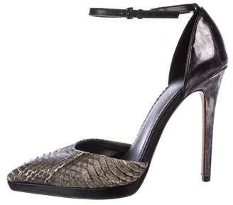 Jean-Michel Cazabat Python-Trimmed Pointed-Toe Pumps