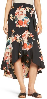 Women's Band Of Gypsies Floral Print Ruffle Skirt $69 thestylecure.com