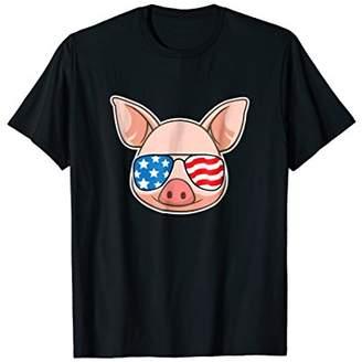 Funny Pig Shirt July 4th American Flag USA Piggy joke TShirt
