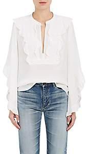 A.L.C. Women's Mendel Ruffle Silk Blouse-White Size 4