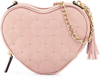 Neiman Marcus Annie Studded Heart Crossbody Bag