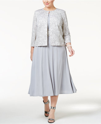 Jessica Howard Plus Size Midi Dress and Lace-Print Jacket $119 thestylecure.com