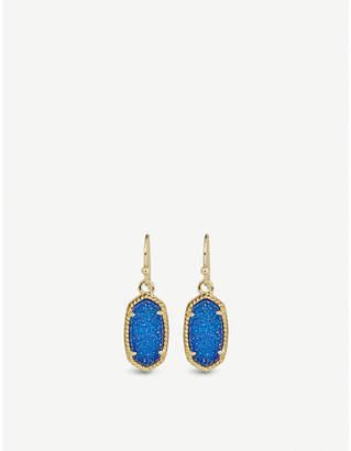 Kendra Scott Lee 14ct gold-plated cobalt drusy drop earrings