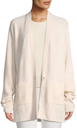 Loro Piana Chevron-Knit One-Button Oversized Cashmere Cardigan