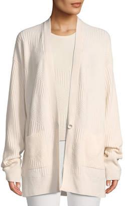 Loro Piana Chevron-Knit One-Button Oversized Cashmere Cardigan