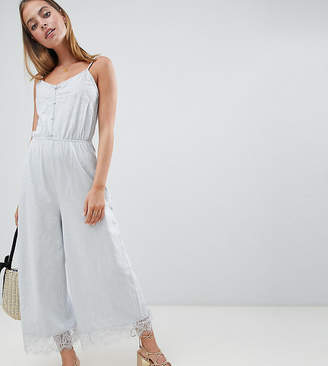 Asos DESIGN Petite cami jersey jumpsuit with lace trim and button front