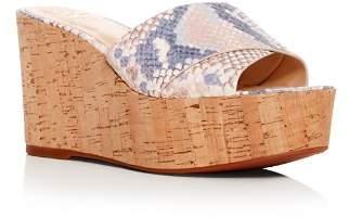 Vince Camuto Women's Kessina Snake-Embossed Leather Platform Wedge Slide Sandals