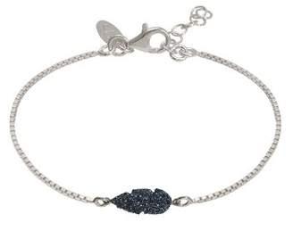Very Sisters BRM61SB-Plume Glitter-Chain Bracelet Silver 925/1000 15 g-Black, 14 cm