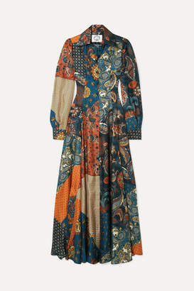 Evi Grintela Evanthia Printed Silk-twill Maxi Dress - Blue