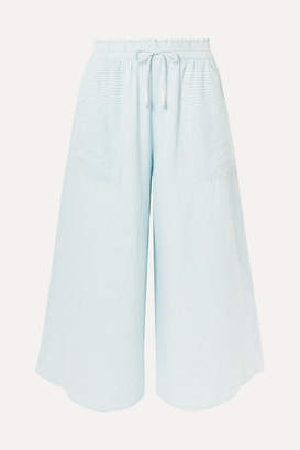 Apiece Apart Galicia Striped Organic Cotton-voile Culottes - Sky blue