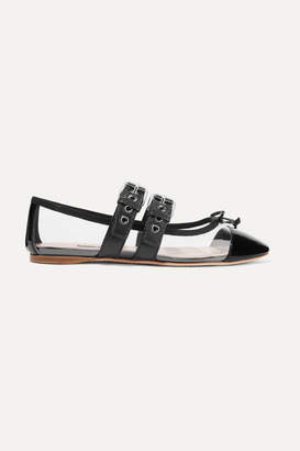 Miu Miu Buckled Pvc And Leather Ballet Flats - Black