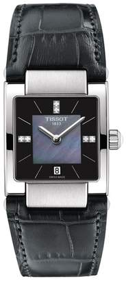 Tissot Women's T02 Diamond Accent Croc Embossed Leather Strap Watch, 31.6mm - 0.0228 ctw