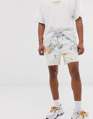 Bershka denim shorts in bleach wash blue