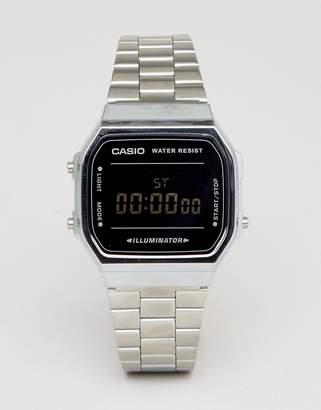 Casio A168W Digital Bracelet Watch In Silver/Black Mirror