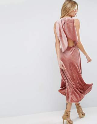 ASOS Velvet Metallic Drape Open Back Midi Dress $83 thestylecure.com