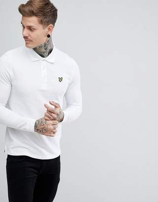 Lyle & Scott Long Sleeve Polo Shirt In White