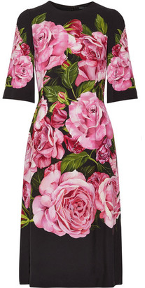Dolce & Gabbana - Floral-print Crepe Dress - Black $2,695 thestylecure.com