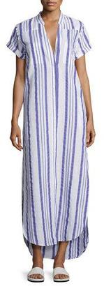 Onia Kim Button-Front Coverup Maxi Dress, Blue/White $150 thestylecure.com