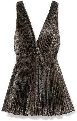 Saint Laurent Plissé-lamé Mini Dress - Black