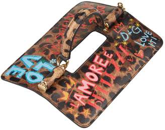 Dolce & Gabbana Leopard Slogan Top Handle Flap