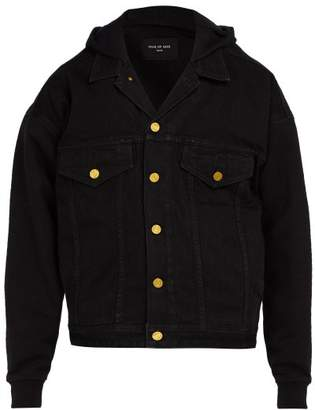 Fear Of God Jersey Sleeve Hooded Denim Jacket - Mens - Black