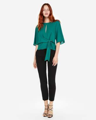 Express Tie Front Flutter Sleeve Blouse