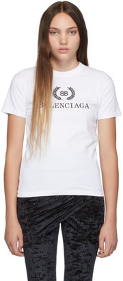 Balenciaga White BB Crown Logo T-Shirt