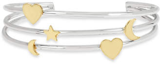 BCBGMAXAZRIA Two-Tone Moon, Star & Heart Triple-Row Cuff Bracelet