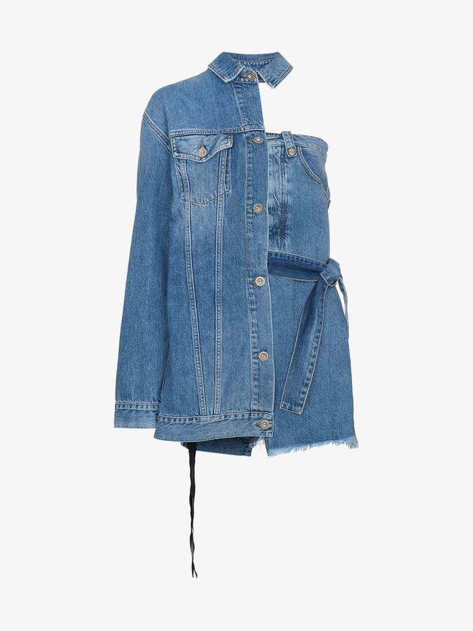 Unravel Project Asymmetric Denim Jacket Mini Dress