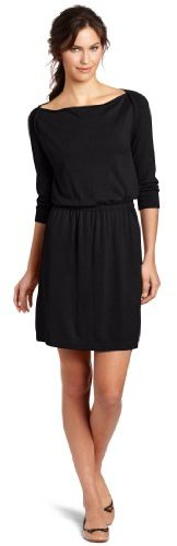 Lilla P Women's 3/4 Sleeve Drape Neck Dress