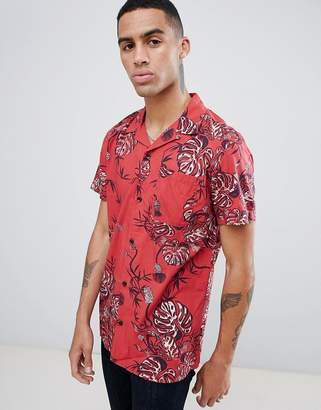 Jack and Jones Originals Short Sleeve Revere Collar Shirt In All Over Print