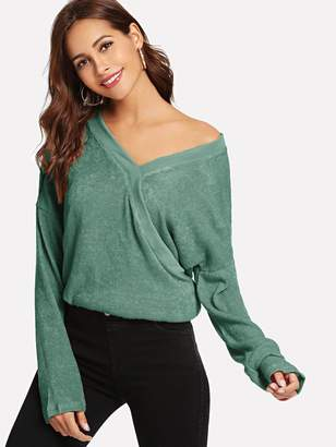 Shein V-Neck Solid Sweater