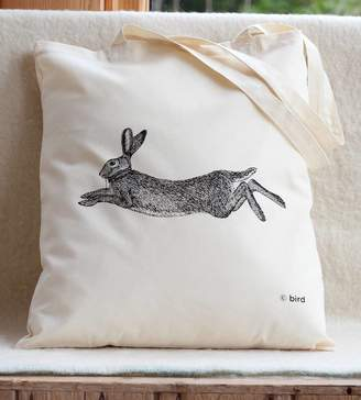Bird Hare Print Cotton Tote Bag